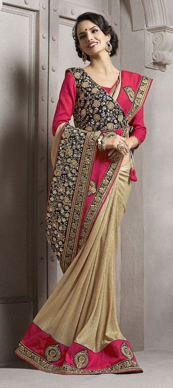 179796 Beige and Brown, Pink and Majenta  color family Bridal Wedding Sarees in Crushed Silk, Lycra fabric with Border, Machine Embroidery, Patch work   with matching unstitched blouse.