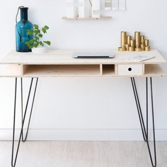 diy modern desk with hairpin legs diy pinterest hairpin legs desks and modern. Black Bedroom Furniture Sets. Home Design Ideas