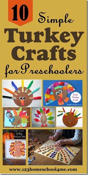 10 Simple Turkey Crafts for Preschoolers - These are such cute crafts and perfect for preschool fall crafts or in November for Thanksgiving