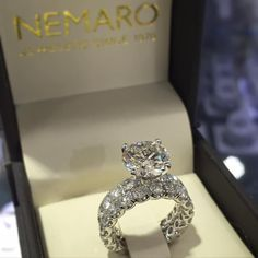 Scalloped diamond engagement ring with matching band and 3ct center round diamond