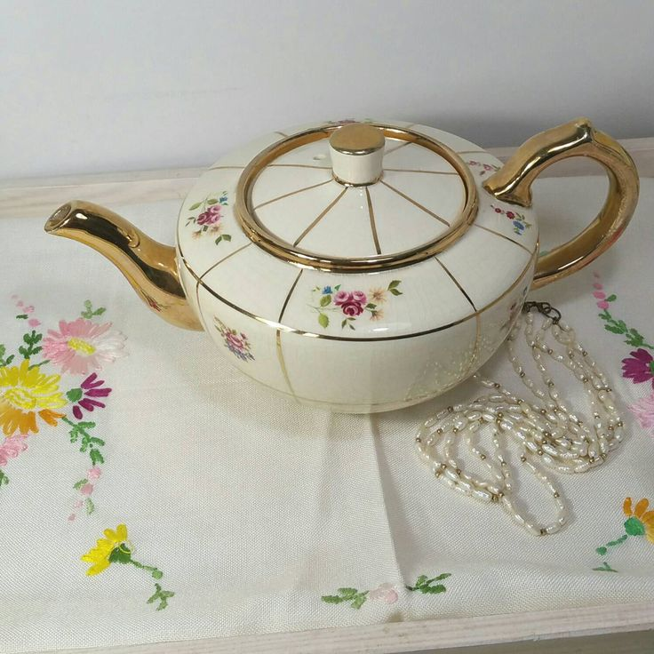 Vintage Teapot in cream and gold made with little roses by R. Sudlow and sons Ltd in the 1920s. by VerasTreasures on Etsy https://www.etsy.com/listing/163055228/vintage-teapot-in-cream-and-gold-made