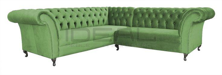 Przepiękny zielony narożnik Chesterfield (green Chesterfield Corner sofa) Sofy Stylowe - Narożnik Chesterfield Avon Ludwik - Ideal Meble