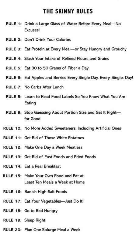 "Bob Harper's Skinny Rules- ignore the ""skinny"" part, these can be some helpful tips for improving health."