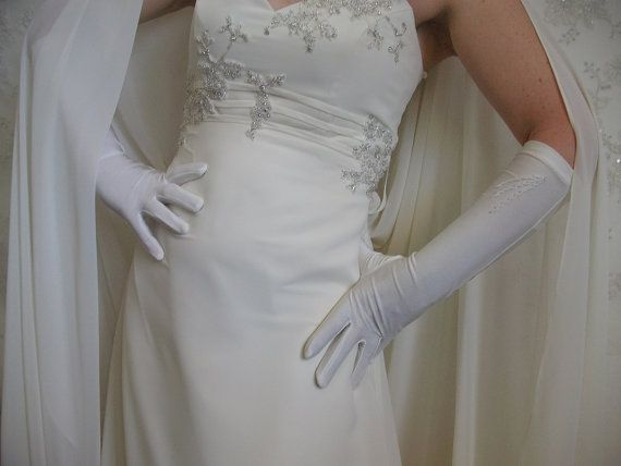 Ivory wedding gloves Three quarter length gloves by DesignByIrenne