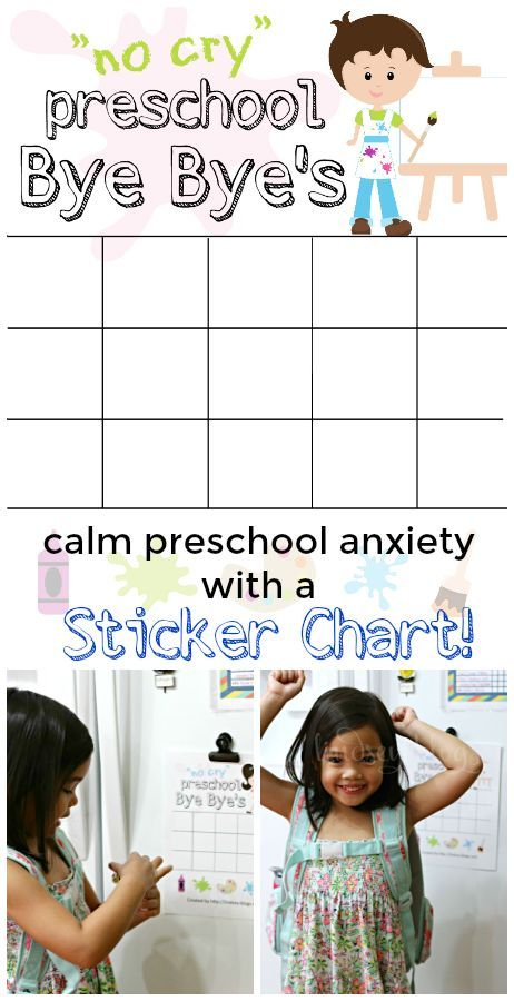 "Dealing with separation anxiety in preschoolers is no fun. Encourage your child to have ""No Cry Preschool Bye Bye's"" with this fun sticker chart."