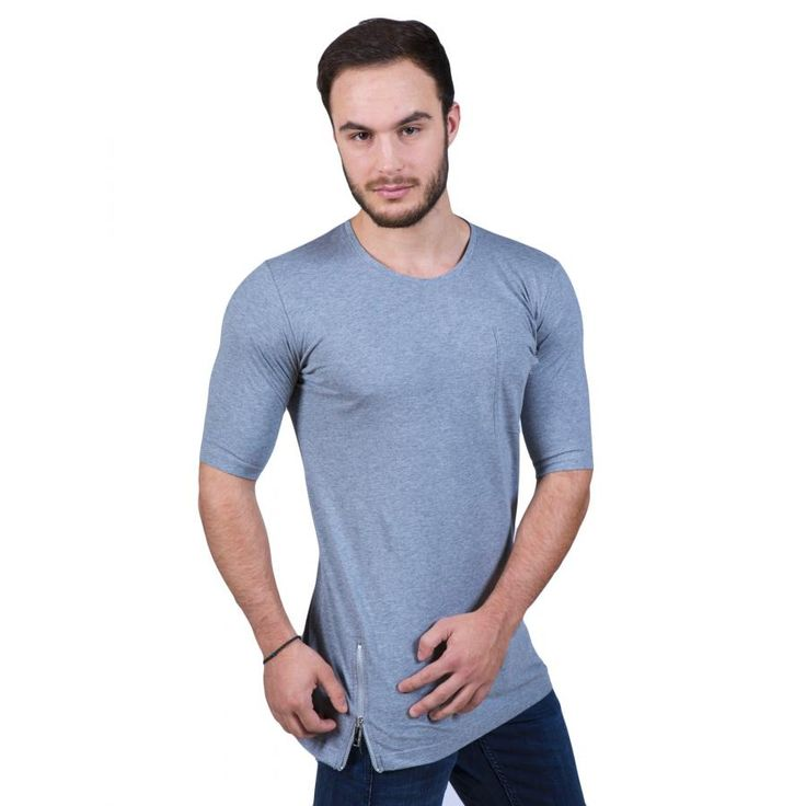 STEFAN Ανδρικό t-shirt, φερμουάρ, παραμάνες