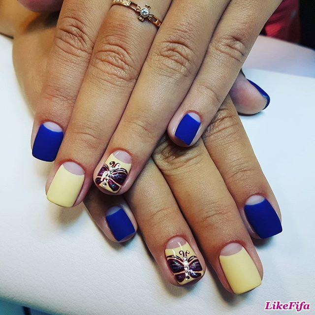 #маникюр, #дизайн_ногтей, #маникюр_желтый_синий, #маникюр_бабочки, #маникюр_негативное_пространство