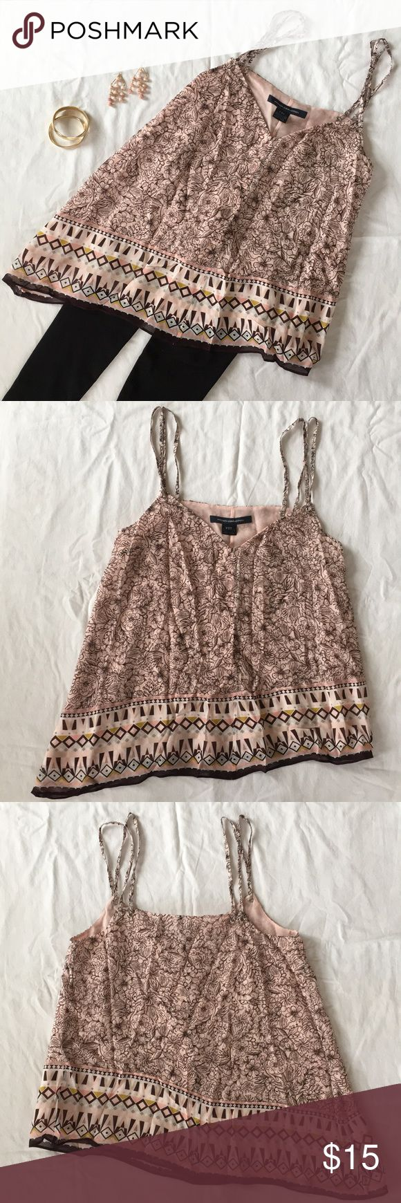 French Connection Ballet Pink Top Cute and fomfy, flowy French Connection tank top. Soft and pretty ballet pink with chocolate brown design. Decorative bottom with asymmetrical hem and cute detailed double straps. Lined in soft ballet pink. Cute with leggings or skinny jeans! Purchased and removed tags but never wore! Moving and cleaning out my closet! French Connection Tops Tank Tops