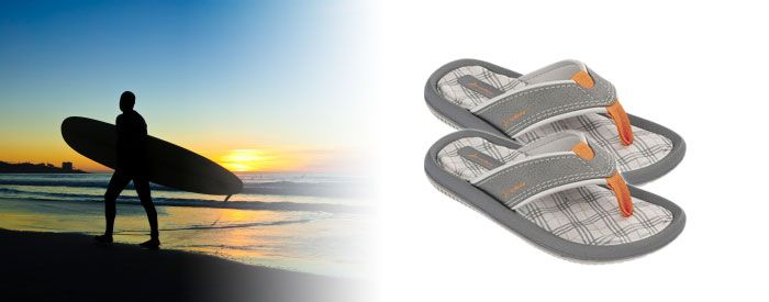 Dunas IV Kids - Grey/Orange Step to a different beat with this trendy, graphic and textured flip-flop in bold and bright colors. A slim but resilient Flexpand insole and narrow toe post make these sandals as comfy as they are eyecatching.
