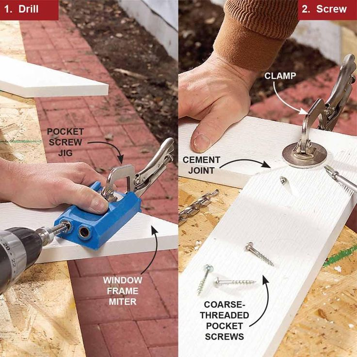 Use a Pocket Hole Jig for Corners - Tips for Working with PVC Trim: http://www.familyhandyman.com/carpentry/trim-carpentry/tips-for-working-with-pvc-trim