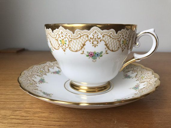 352742b6ec8 Happy Anniversary Teacup and Saucer, Tuscan China Extra Large Tea Cup and  Saucer, Gold Lace and Floral Bone China