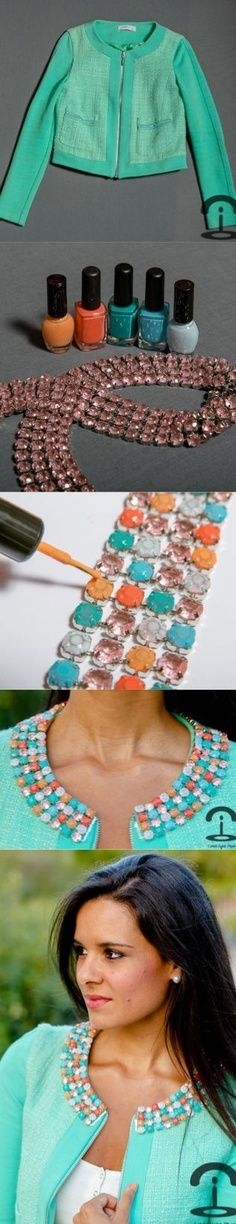 DIY Crimenes de la Moda - colorful strass jacket - chaqueta customizada colores