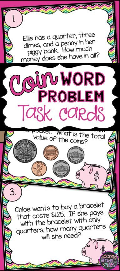 These coin and money task cards have one or two-step word problem asking students to count coins to find a total value, determine missing coins when given some coins in a group, determine whether or not there is enough money to buy a given item, and more.  Great for a second grade scoot game and Common Core aligned!