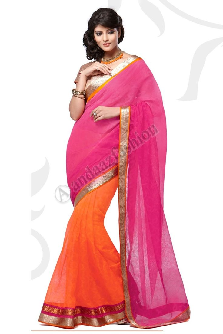 Orange Prix du rose Manipuri Net Saree Design n °: -DMV7559 Prix:- 56,77 €  robe Type: Saree Tissu: Manipuri avec Couleur nette: Orange avec des embellissements rose: brodé, Plaine Pallu Pour plus de détails: - http://www.andaazfashion.fr/orange-pink-manipuri-net-saree-with-golden-silk-blouse-dmv7559.html