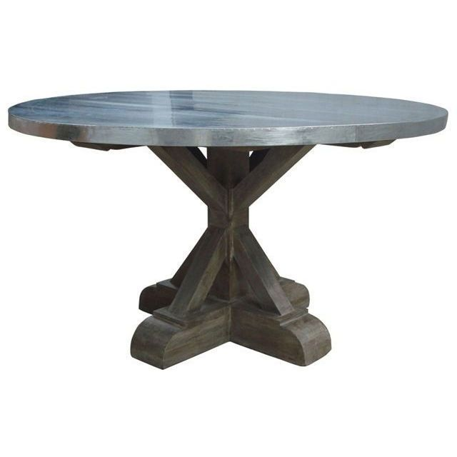 Designing Spaces Places - Berlin Industrial round dining table with zinc top,  $2,495.00 (http://www.spacesplaces.com.au/dining-tables/berlin-indust… - Designing Spaces Places - Berlin Industrial Round Dining Table