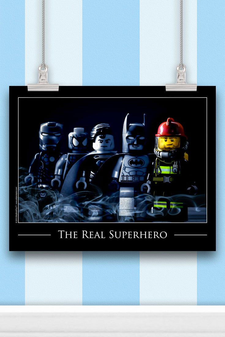 A unique, touching and memorable firefighter gift that you won't find anywhere else. The Fireman is seen here heading up the team of superheroes!