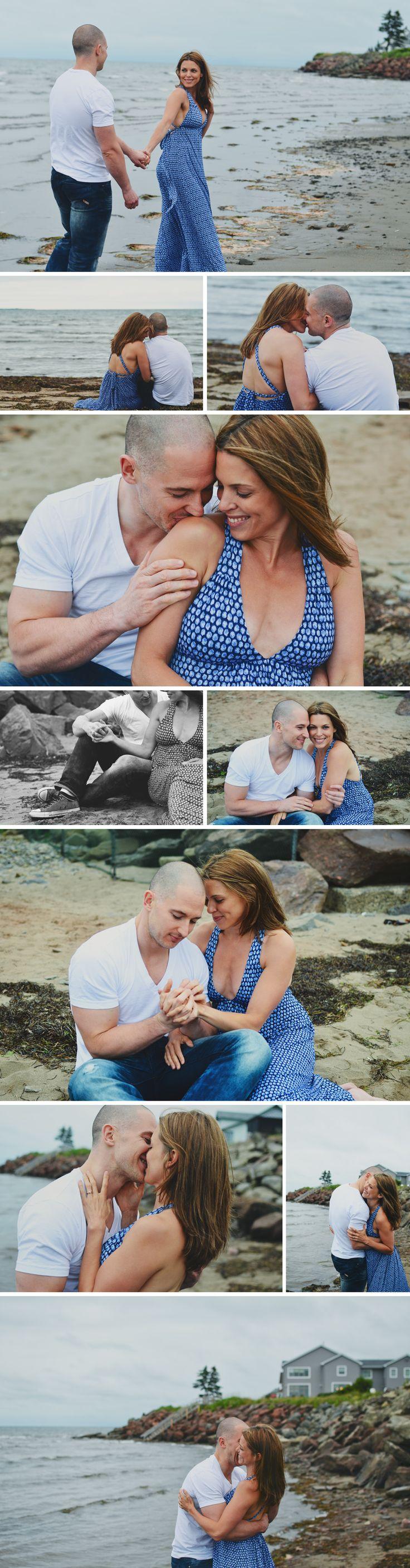 Romantic beach lifestyle engagement shoot