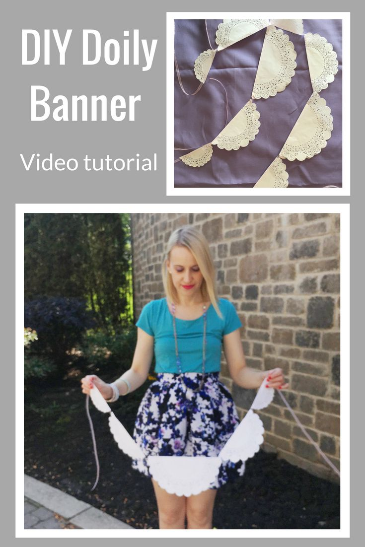 DIY Doily Banner Tutorial - This dainty doily banner is so easy and CHEAP to make! It is perfect for an afternoon tea and all the supplies can be found at the dollar store. #diypartydecor
