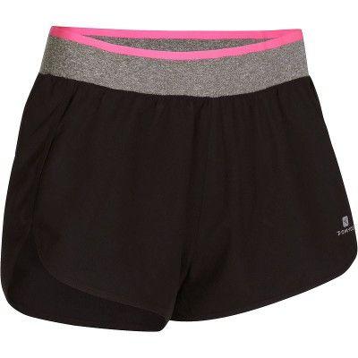 Pantaloni Abbigliamento fitness,Danza - Pantaloncini donna ENERGY neri DOMYOS - Abbigliamento Palestra