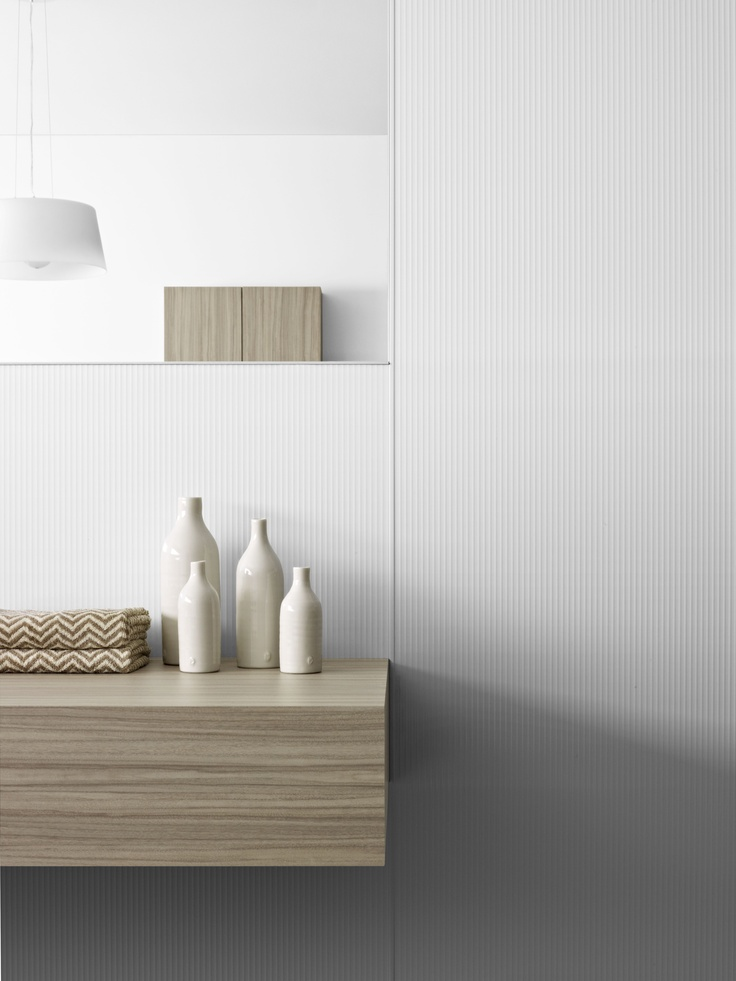 Basin wall Laminex Aquapanel Polar White Ripple. Basin bench Laminex  Colour Palette Avignon Walnut. Styling Wendy Bannister. Photography Earl Carter.