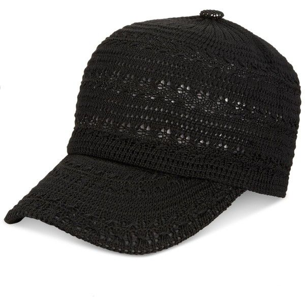 Inc International Concepts Crochet Packable Baseball Cap, ($14) ❤ liked on Polyvore featuring accessories, hats, black, baseball hats, ball cap hats, baseball caps, baseball caps hats and crochet baseball cap
