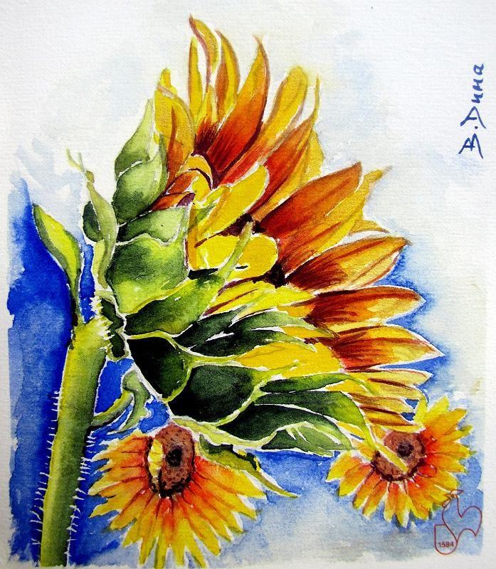 Sunflowe, original painting by Berrin Duma. sold