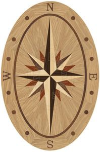 Hardwood Floor Medallion Sailors Sky Oval 36""