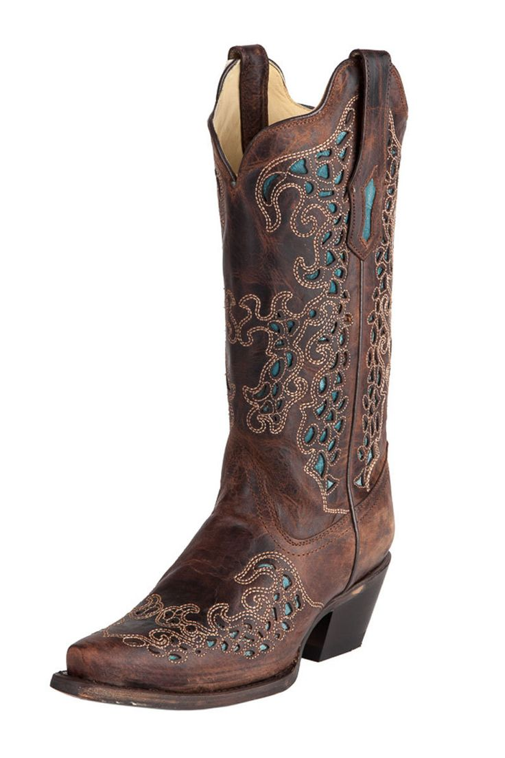 Corral Women S Brown With Turquoise Cowgirl Boots