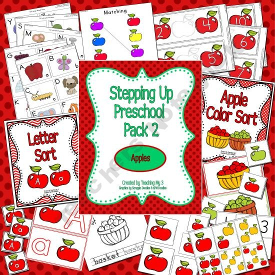 Preschool Pack 2: Apples 44 pages of fun and engaging activities for your 3-5 year old. Great for road trips and restaurant visits as well as homeschool, daycare or classroom use.