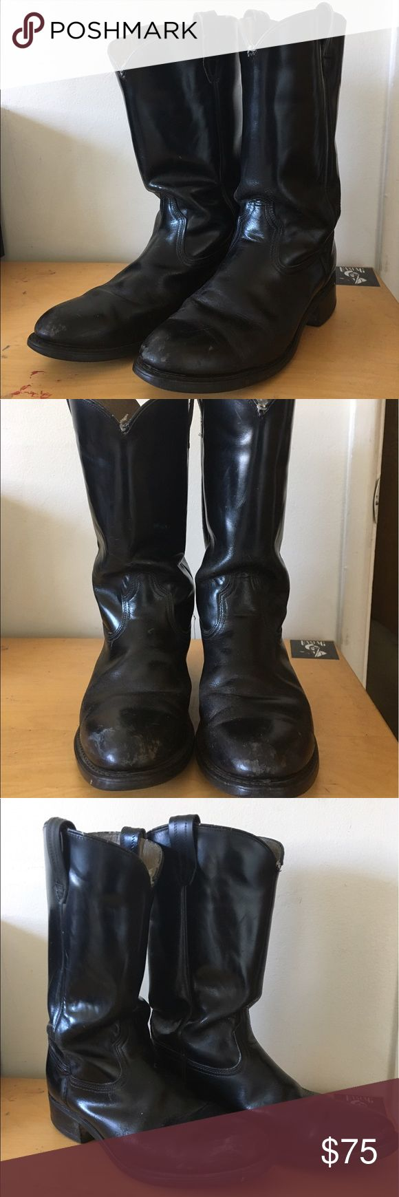 Vintage Dress Cowboy Boots - Black Black Vintage Dress Cowboy Boots! Recently had the straps redone and sewing a tightened up at the shop. There is some minor wear on some of the surfaces but are still in great wearable condition. Shoes Cowboy & Western Boots
