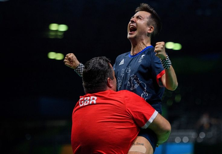 Rio Paralympics Table Tennis Gallery 5 - Britain's William John Bayley was hoisted into the air after winning gold in men's table tennis - class 7.