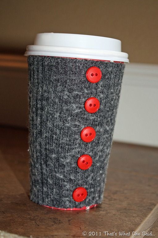Upcycled sweater - coffee cozy (how about using socks that have gotten holes in the soles??)