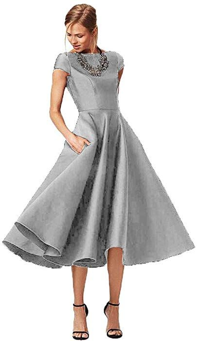 9bba1253ab Fashionbride Women s Formal Evening Gown Satin Short Sleeve Tea-Length  Mother of The Bride Dress Silver-US18W at Amazon Women s Clothing store