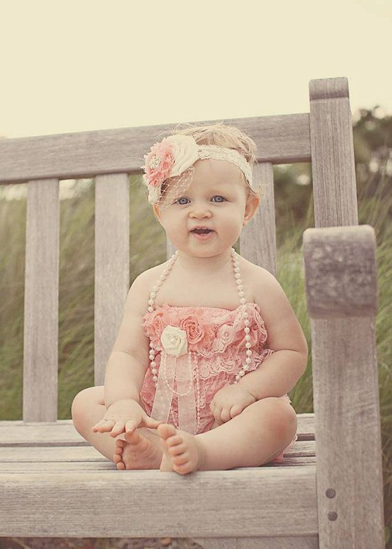 Cream and Coral Triple Flower and Pearl Headband on Lace with Birdcage Veil - Photo Prop - Special Occasion - Vintage-Inspired