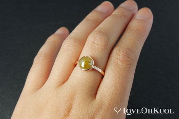ON SALE Honey Yellow Rose Cut Diamond Ring Rose by lovebyohkuol