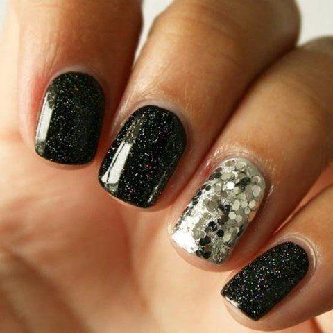 Black dress nails n cocktails