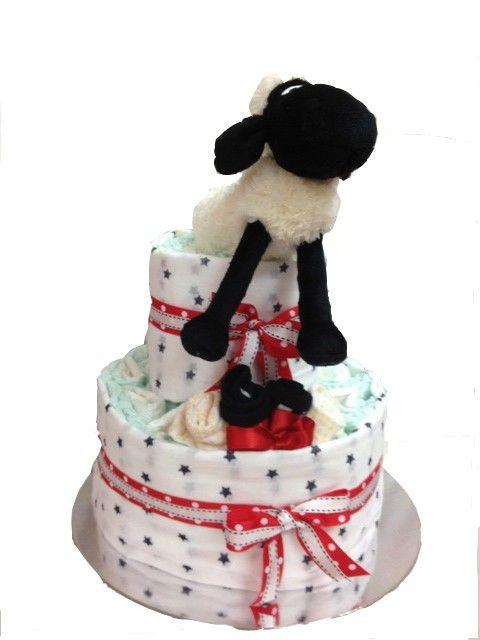 Shaun - Sheep Nappy Cake - 2 Tier Red