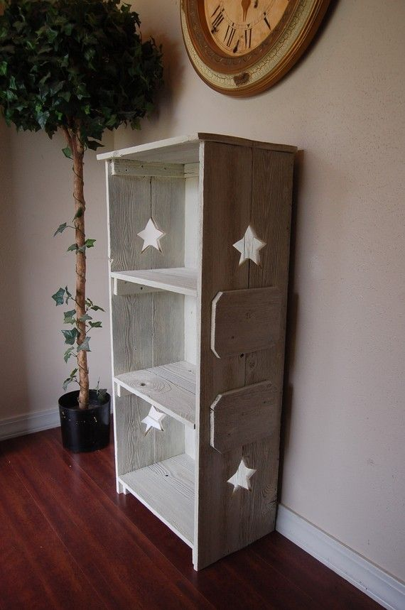 White Wood bookcase ANY COLOR Wood Shelf Star by TRUECONNECTION, $399.00
