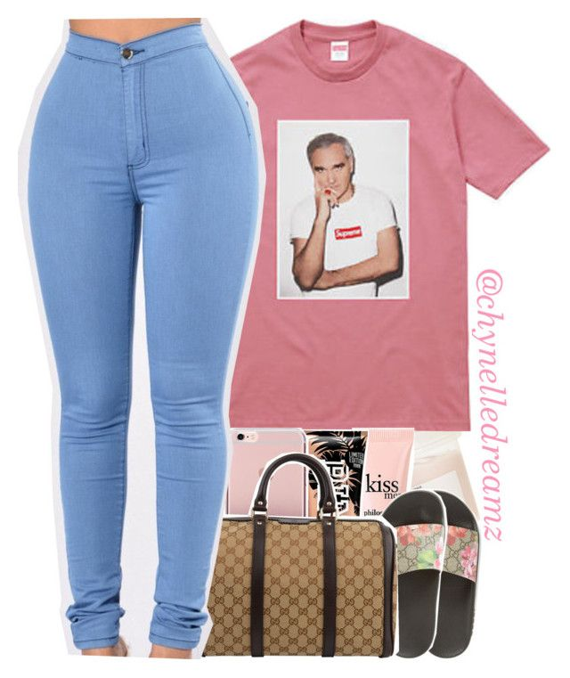"""Retro x Childish Gambino"" by chynelledreamz ❤ liked on Polyvore featuring Davines, Gucci and philosophy"