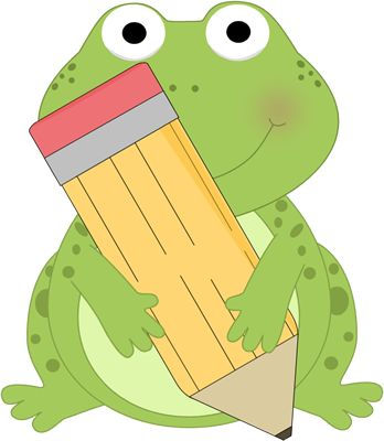 Adorable Clip Art | Frog Holding a Pencil Clip Art Image - cute frog holding a big yellow ...