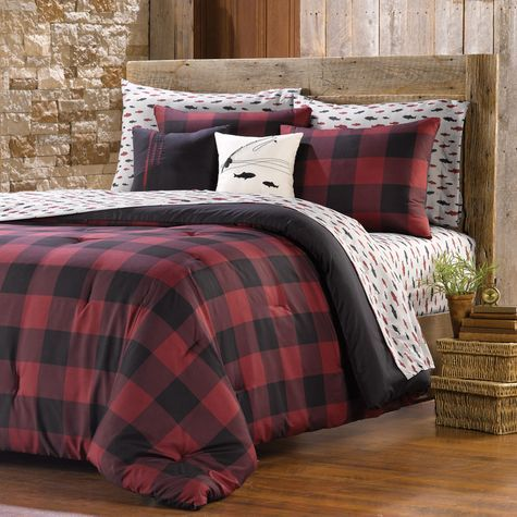 Hannah/Guest Room -- pair w/ white sheets and ticking stripe pillow cases/bedskirts? NorthCrest Buffalo Plaid Comforter Set