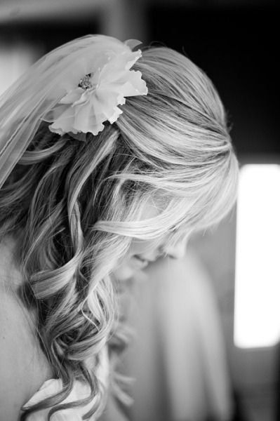 Hair Half Up With Flower And Veil