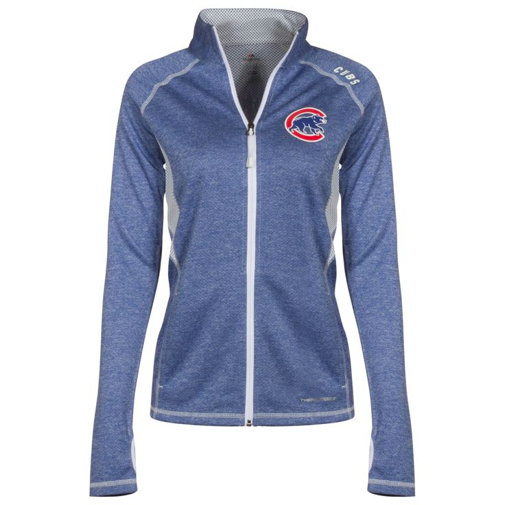 Chicago Cubs Women's Heather Royal Crawl Bear Full-Zip Long Sleeve Shirt by Majestic #Chicago #Cubs #ChicagoCubs