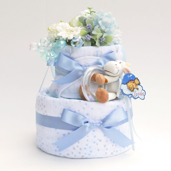 diaper cake w/aden+anais muslin swaddle | www.pannolini.jp #baby shower #おむつケーキ(ダイパーケーキ)
