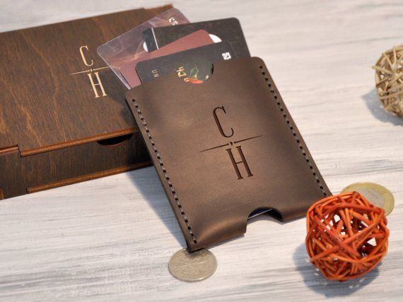 engrave your name! Tan Brown Leather Wallet Personalized Credit Card Holder