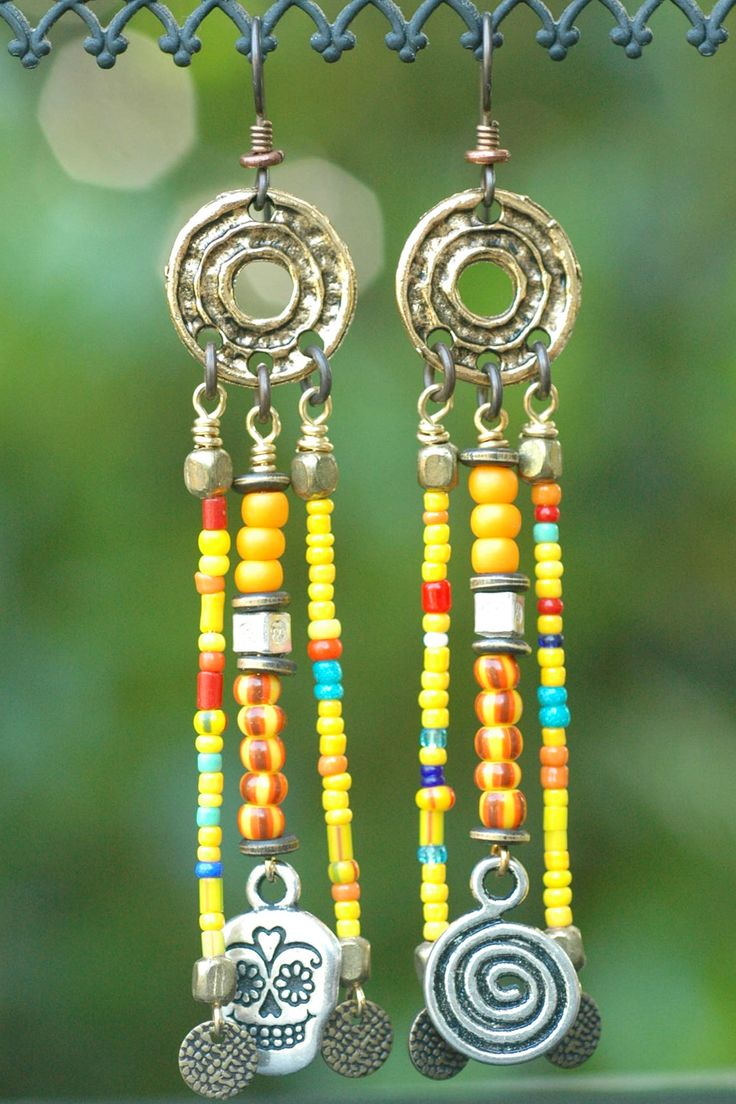 58 best mexicansouthwest jewelry images on pinterest jewerly kumasi chandelier earrings african tribal colorful glass trade bead spiral and skull chandelier earrings arubaitofo Images