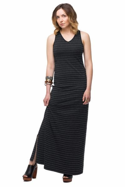 "UPF Clothing | UPF50+ ""Your Favourite Maxi Dress"" in ""Black/Heather Stripe"" by SummerSkin"
