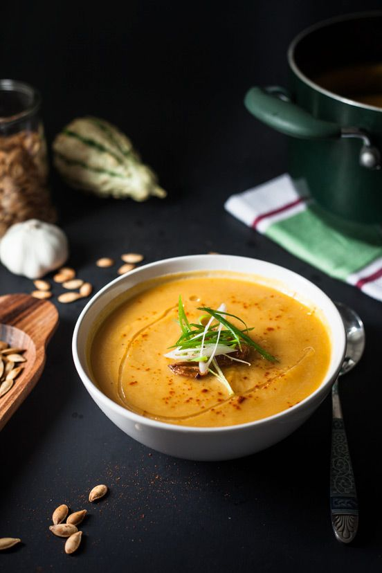 Roasted Garlic, Pumpkin and Leek Soup recipe