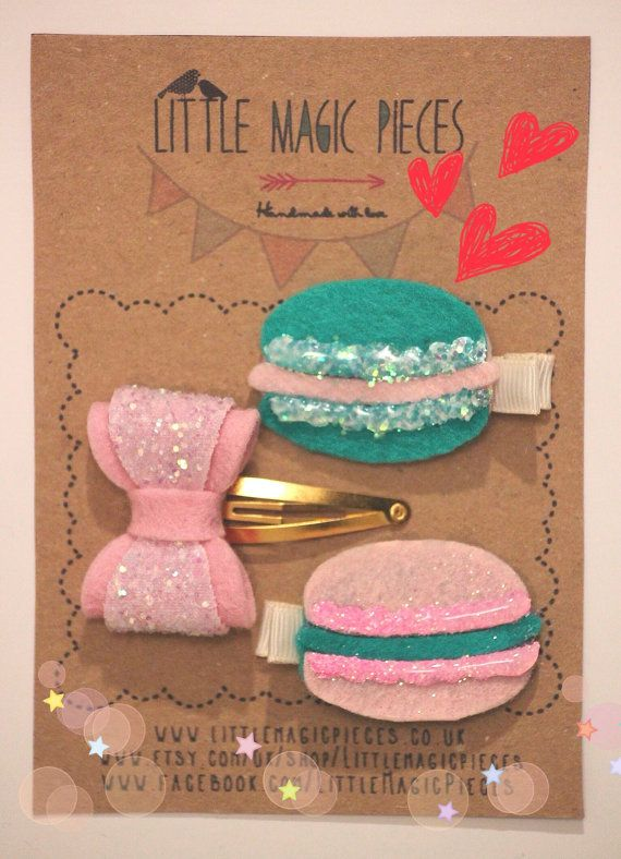 French Macarons Bow Hair Clip Set Glitter Valentine