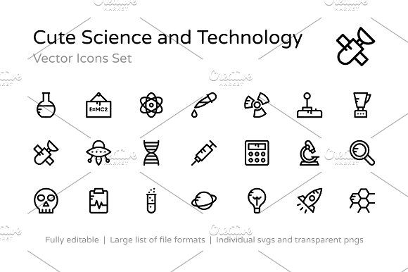 100+ Science and Technology Icons CreativeWork247 – Fonts, Graphics, Themes, Templates